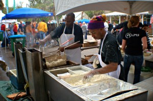 Local restaurants including Plums brought their best soft shell crab recipes to the festival.  Photo by Dawn Ramsey