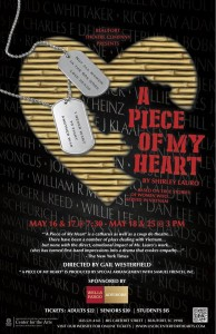 A Piece of My Heart will run May 16 & 17 at 7:30 p.m. and May 18 and 25 at 3:00 p.m.  at USCB Center for the Arts