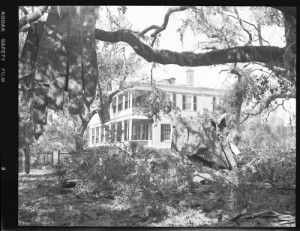 Black and white negative of hurricane damage sustained from Hurricane Gracie at the Edward Means house taken on Sept. 29, 1959. Photo courtesy Lowcountry Digital Library, The Lucille Hasell Culp Collection - A Celebration of Beaufort, South Carolina