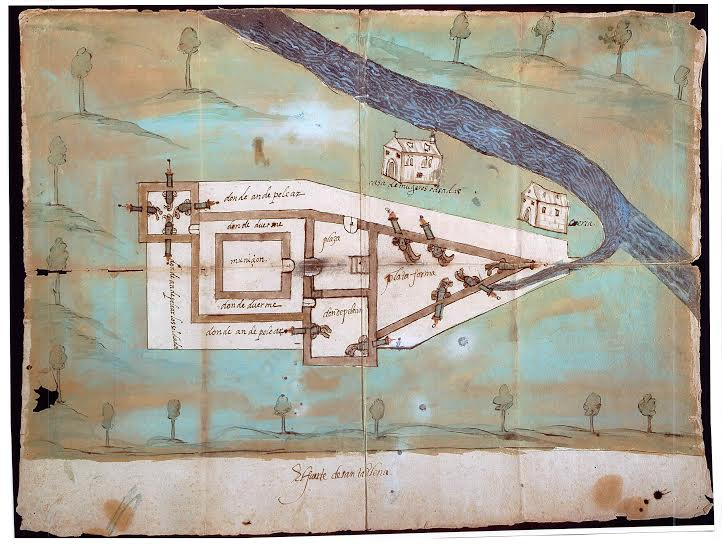 Map of first fort built at Santa Elena. Courtesy Santa Elena Foundation.