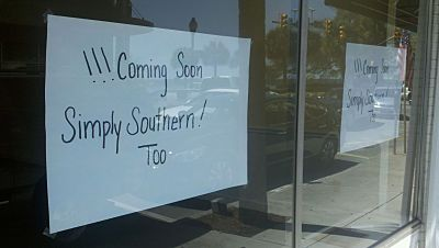 Simply Southern Too sign in window of new shop.