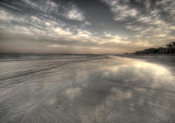 Hunting Island beach at dusk.