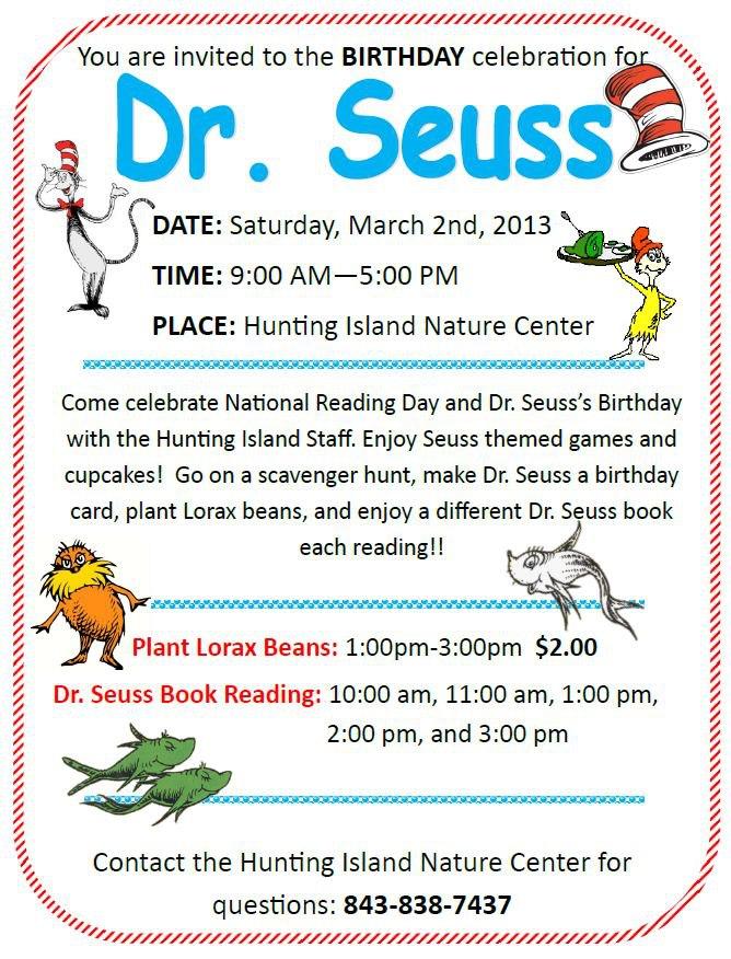 Hunting Island S Dr Seuss Birthday Celebration