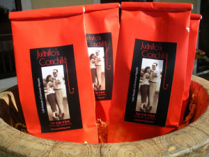 Find robust Latin coffees at ta·ca·rón trading company.  The label on this package is actually a photograph of Juan Carols' parents.
