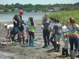 Volunteers build an oyster reef along Pigeon Point Landing last spring.
