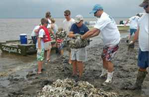 Volunteer for an oyster reef build at Whitehall Landing on Lady's Island on May 15th