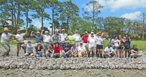 Volunteers built an oyster reef on Hunting Island last spring.