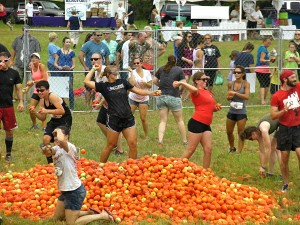 At Saturday's Beaufort Tomato Festival, a few tons of tomatoes were dumped into the middle of a fenced off pit and about 100 participants went at it, slinging tomatoes everywhere while firemen from Lady's Island/St. Helena Fire District hosed them all down.