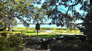 Historic cannons in downtown's Stephen Elliott Park
