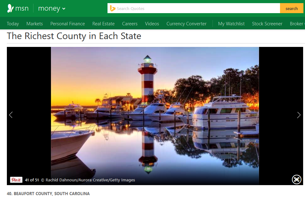 MSN Money ranks Beaufort County as 'Richest county in all of South