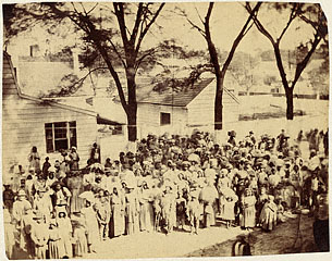 Slaves gather at Camp Saxton to hear the first reading of the Emancipation Proclamation