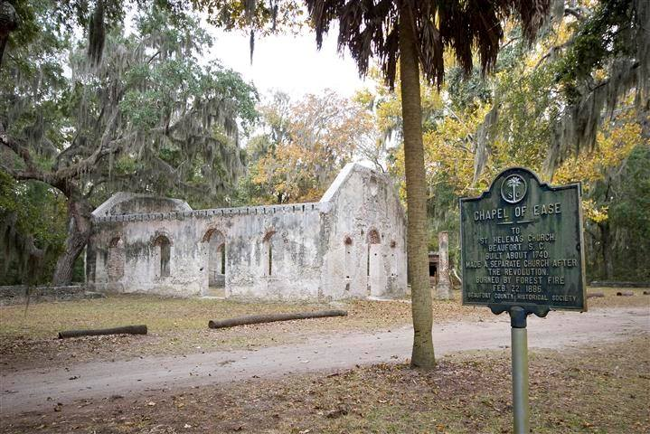 This beautiful relic of a church known as the 'Chapel of Ease' is located on St. Helena Island.