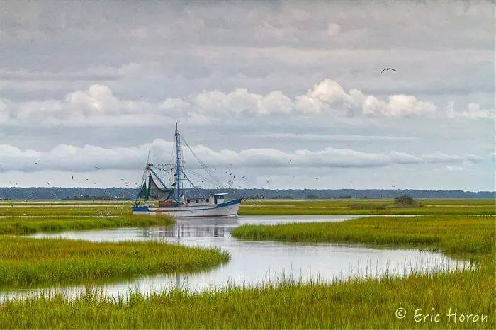 A shrimpboat returning to the docks at the Gay Seafood Company. Photo courtesy Eric Horan