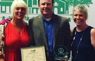 Lowcountry Habitat for Humanity was named Best Local non-profit organization at the Beaufort Chmber of Commerce annual CIVITAS Awards.  (l to r) Ginger Wareham of Picklejuice Productions, Chet Houston, Executive Director of Lowcountry Habitat and Janie Lackman, Marketing & Development Director