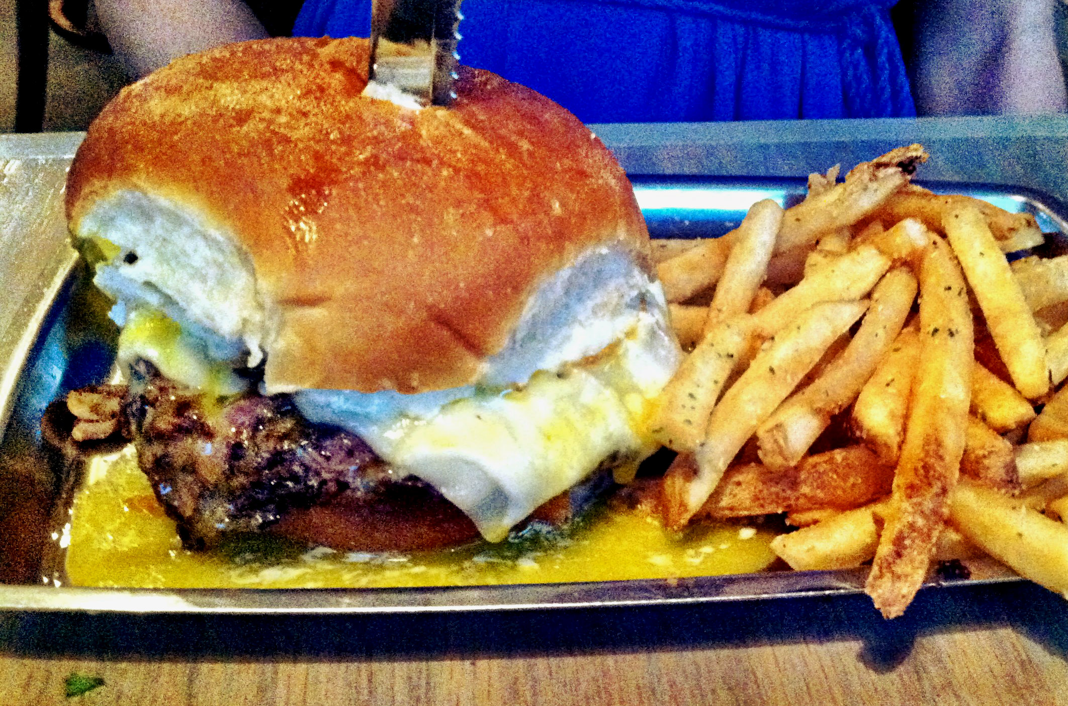Fat Patties' Over Easy burger. With fried egg, Swiss cheese and onions & mushrooms.