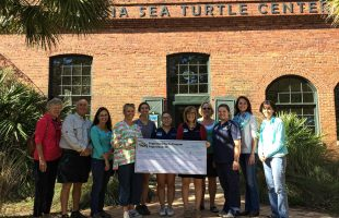 The Fripp Island Turtle Team presented the Georgia Sea Turtle Center with a check on Saturday, November 5th.  Photo by Janie Lackman