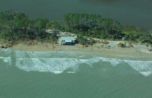 A whopping seventy-seven miles of dunes were damaged in South Carolina. Aerial photo over Hunting Island taken October 9th by Ashley Williams