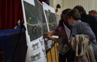Residents look at maps that display proposed changes to relieve Lady's Island traffic. Photo by Jessicah Lawrence/Beaufort Today
