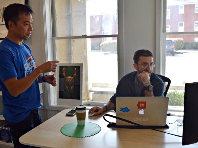 Jose Mallabo and Ian Leslie strategize in their office at BASEcamp. Vireo Labs is one of two residences at the Beaufort Digital Corridor. Photo Jessicah Lawrence/Beaufort Today