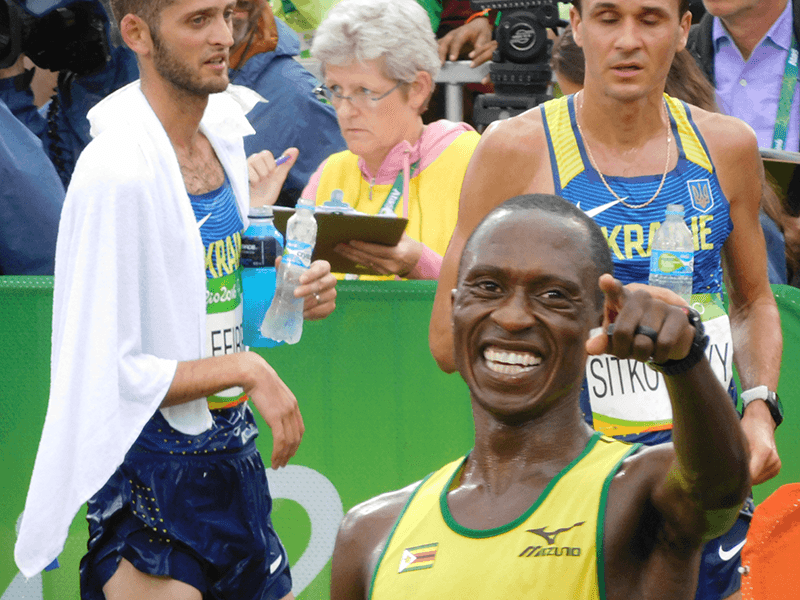 Pardon Ndhlovu at the 2016 Summer Olympics in Rio.  Photo courtesy Arthur Takahashi, Augusta University