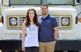 Local business owners Kayla Derrick and Matt DeVito with their renovated vintage bus-turned-mobile-retail-store.