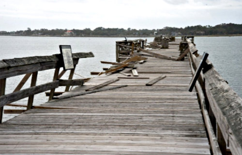 Th fishing pier at Hunting Island sustained major damage from Hurricane Matthew. Photo by Paul Keyserling