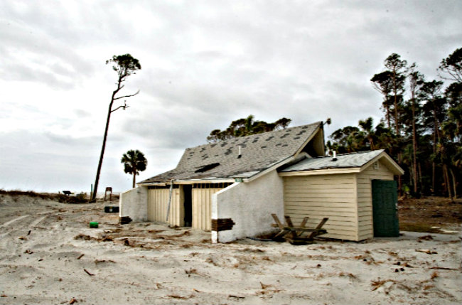 The bathhouse near the ocean at the campground will be gone the next time you visit. Photo Paul Keyserling
