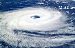 Satellite image of Hurricane Matthew taken October 2016, Courtesy NOAA