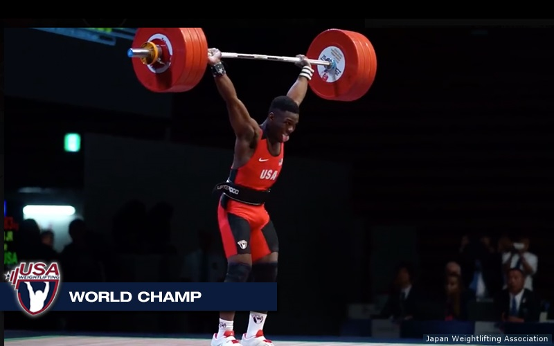 CJ Cummings completes 183kg clean & jerk to secure 2017 IWF Junior World Title in the 69kg weight category in Tokyo, Japan on Sunday.