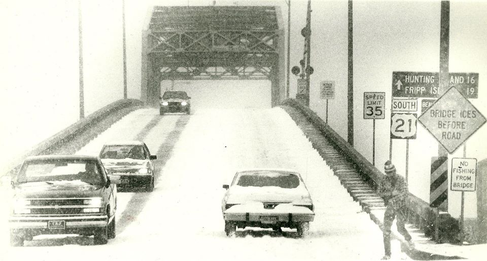 Snow covers the Woods Memorial Bridge in 1989 when a Christmas storm blanketed the area with as much as 7 inches.