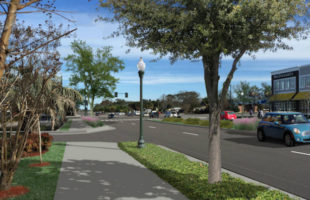 Artist's rendering of what the raised, landscaped center median will look like on Boundary Street.