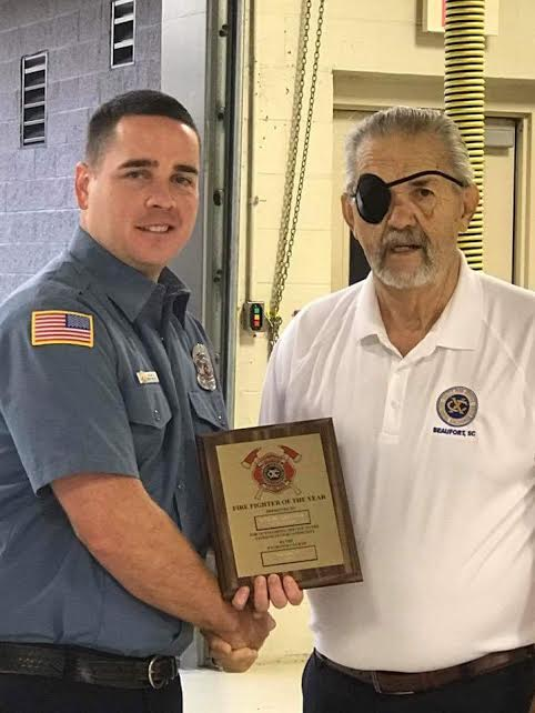 The Exchange Club of Beaufort named MCAS Firefighter Byron Hancock as 2017 Firefighter of the Year.