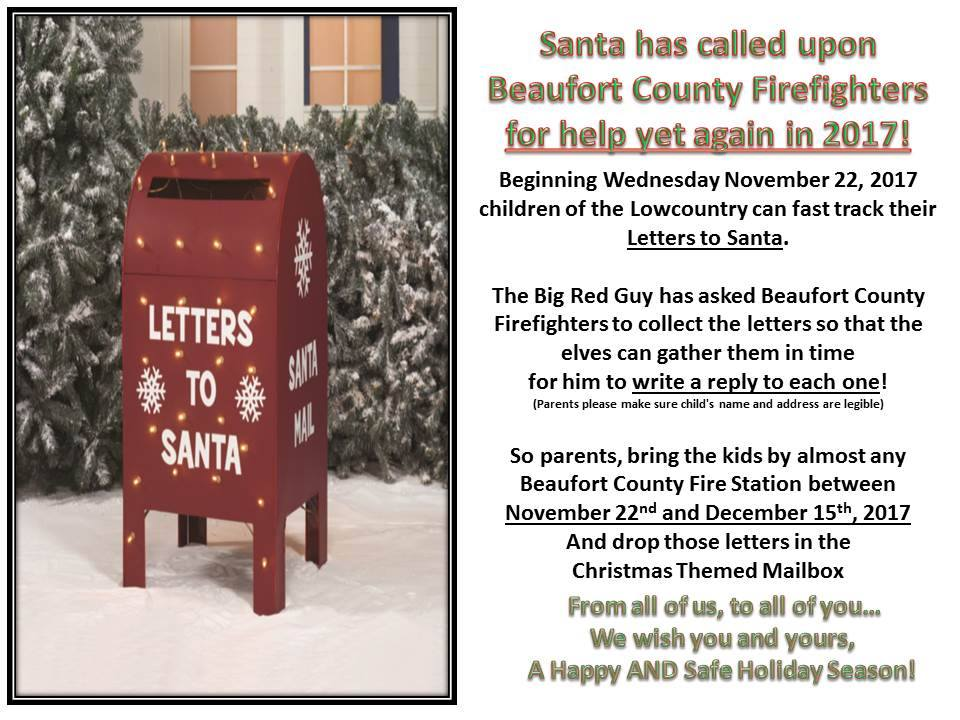 Drop your letter to santa at beaufort area fire stations in beaufort and port royal you can mail your letters to santa at 135 ribaut road 1120 ribaut road and 1750 paris avenue spiritdancerdesigns Gallery
