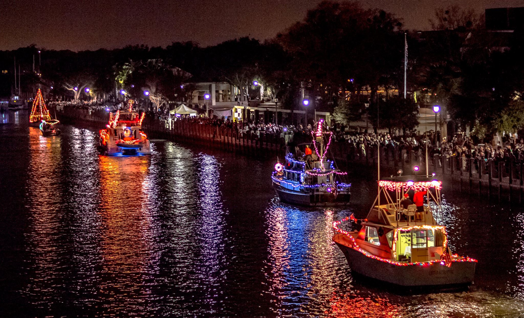 Downtown Beaufort Christmas Night on the Town Boat Parade