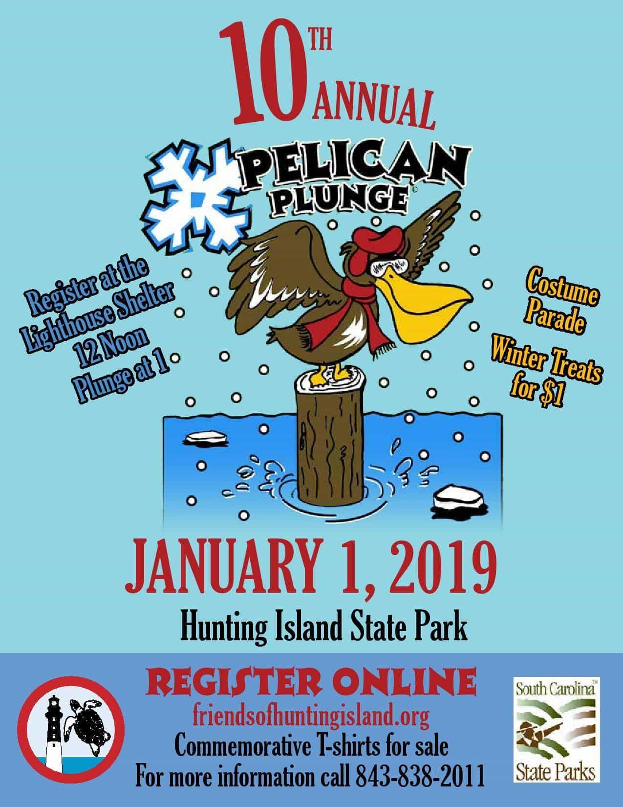 Warm hearts, cold water and lots of fun forecasted for the 2019 Hunting Island New Years Day Pelican Plunge!