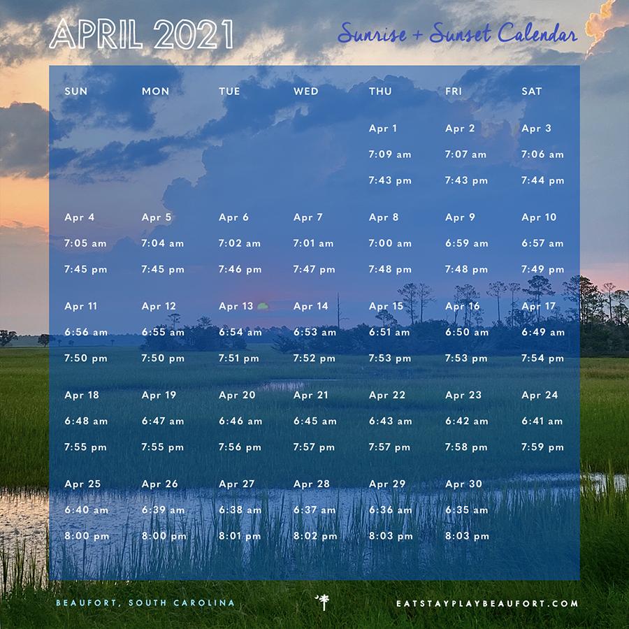 April 2021 Sunrise + Sunset Calendar   Beaufort, South Carolina