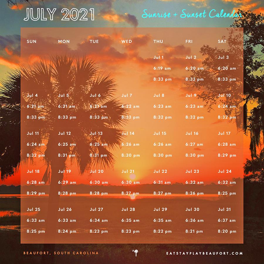 July 2021 Sunrise + Sunset Calendar   Beaufort, South Carolina