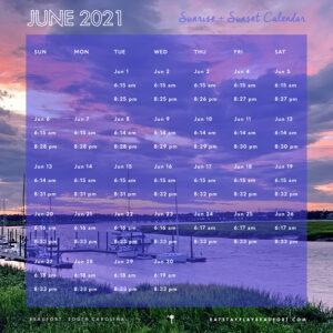 June 2021 Sunrise + Sunset Calendar | Beaufort, South Carolina