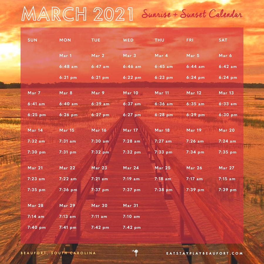 March 2021 Sunrise + Sunset Calendar   Beaufort, South Carolina