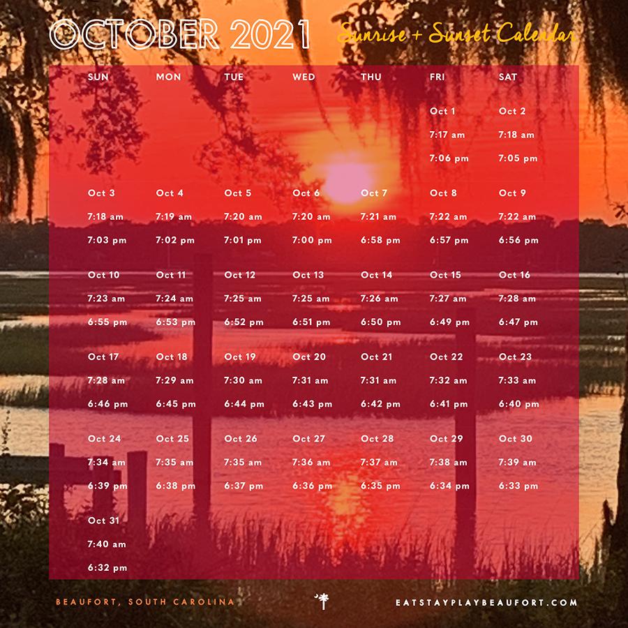 October 2021 Sunrise + Sunset Calendar   Beaufort, South Carolina